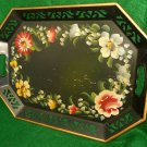 Antique Vintage Tole Toleware Hand Painted Black Tray Flowers Pierced Gold Edge