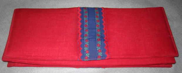 Clutch NOS Oversize Envelope Handbag Linen Vintage 60s Chic of Paris Red Bag
