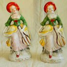 Antique Japan Pai 2 French Lady Regency Pottery Figures Ceramic Hand Painted