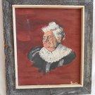 Original Vintage Painting Scott Close Portrait Western Grandma Humorous Rustic