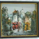 Vintage Mid Century Modern Oil Painting Cityscape Paris French Cubist Frame GHK