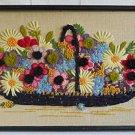 Vintage Needlework Bluebonnets Modernist Basket Flowers Huge 3D Framed Pom Poms