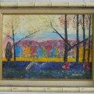 Vintage Original Oil Painting Western Canyon Landscape Postimpressionism  Suskin