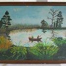 Folk Art Vintage Oil Painting Lake Fishing Fishermen Outboard Boat J L McCune 75
