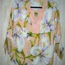 Diane Von Furstenberg Blouse Silk Print Draped Floral Hibiscus Pink Hawaiian