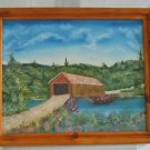 Vintage 80s Oil Painting R Cunningham Old Covered Bridge Mid West Landscape