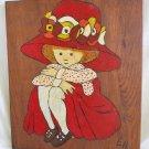 Vintage 60s Original Oil Painting Wood Wall Plaque Girl Red Huge Hat Costume EH