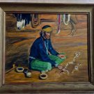 Vintage 50s Navajo Native American Artist Indian At Work Oil Painting N M De Leo