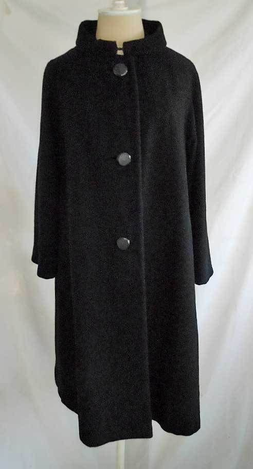 Vintage 50s Black 100% Cashmere Coat Portait Frame Collar Swing Amters Denver