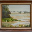 Vintage Florida Keys Big Pine Painting Ornithology Deer Heron Marsh Damron 1984