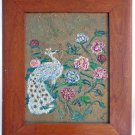 Vintage Original Art Oil Painting Peacock Ornithology Flowers Wide Frame Paula