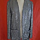 Vintage 60s NOS Dead Stock Sequin Tunic Long Trophy Jacket Blazer Charcoal Gray