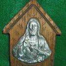 Vintage Rustic Wood Religious Art Cast Metal Jesus Barn Wall Decor Cabin Plaque