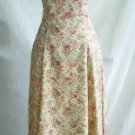Laura Ashley Silk Maxi Tea Dress Roses Pink Flower Print Fitted Prarire 4 NOS