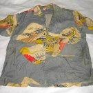 Antique Kahala Pre War Hawaiian Shirt Silk Japanese Scenes Decor Dime Buttons