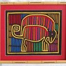 Kuna Mola Lizard Chameleon Vintage Folk Art Panama Needlework Framed Textile