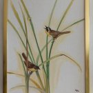 Ornithology Original Painting Moderne Vintage Yellow Throats 1977 Schmidt Birds
