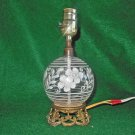 Vintage Hand Painted Clear Glass White Flowers Small Bulbous Lamp Cut Leaf Brass