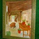 Gardening Vintage Folk Art Naive Oil Painting Stone House Porch Potting Flowers
