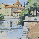 Tuscany Vintage Watercolor Painting Impressionist River Village Sardelli 1957