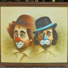 Clowns Vintage Original Painting Sad & Smiling Circus N TOMAS Mid Century Modern