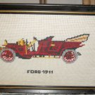 Antique Needlepoint 1911 Ford Touring Car w/Driver Automobile Car Framed Vintage