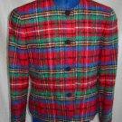 NOS Blazer Hunting Pendleton Wool Plaid Collarless Jacket Vintage 70s Grunge