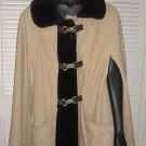 Cape Juli di Roma Vintage 50s Wool Duffle Long Faux Fur Collar Swagger Coat
