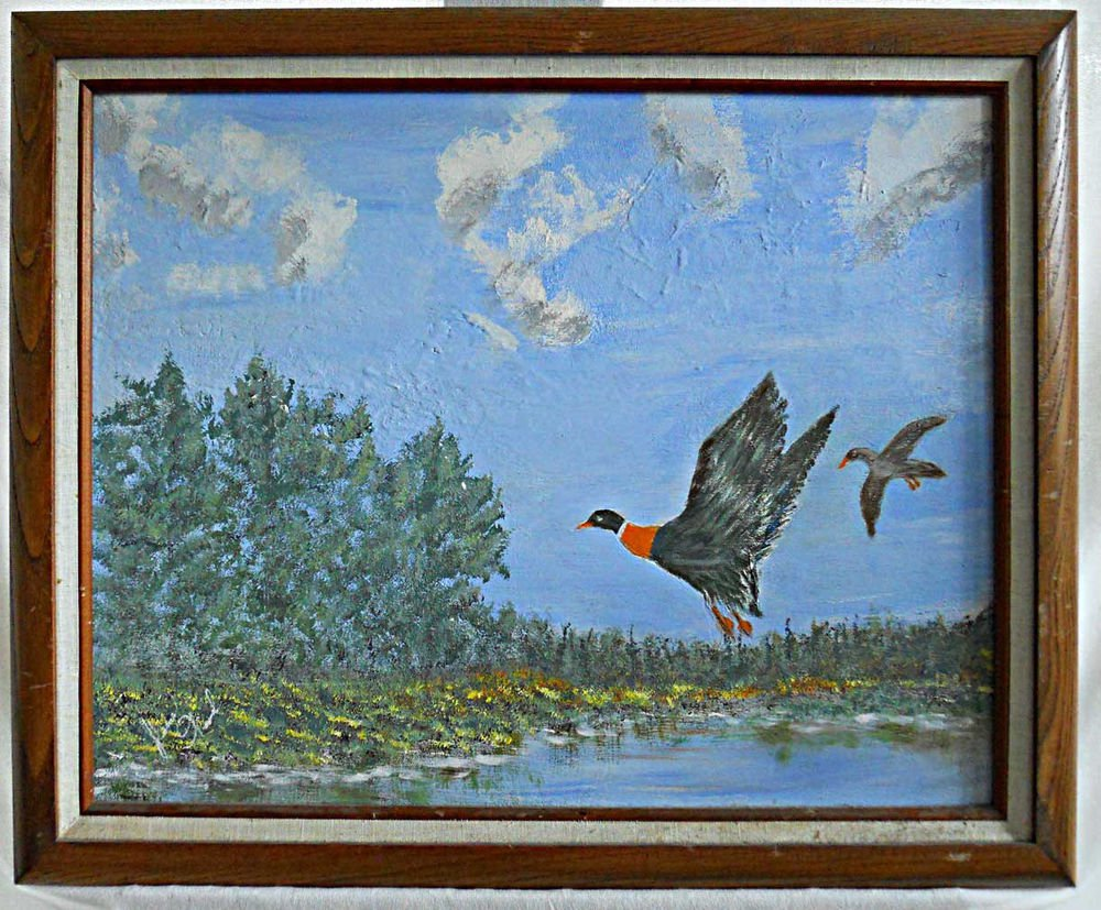 Ornithology Painting Vintage Original Naive Folk Art  Ducks Outsider Art J Wood