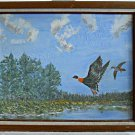 Ornithology Painting Vintage Original Naive Folk Art  Ducks Outsider Art J Wood