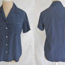 Ralph Lauren Collection Purple Label NOS Navy Check Camp Shirt Blouse Shirt 6