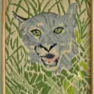 Vintage Needlepoint Leopard Huge Head Snarling in High Grass Naturalistic