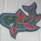 Mola Shark Pillow Cover Folk Art Vintage Kuna Colorful Green Pink Needlework