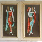 Vintage 50s Mid Century Modern Framed Wall Pair Plaque Mythic Roman Water Girls