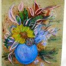 Original Vintage Oil Painting Still Life Sunflower Romantic Floral Pottery JWB
