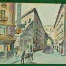 Painting Paris Vintage 60s Street Life Mid Century Flower Push Cart Original Oil