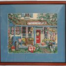 Vintage Needlepoint Village Peddler Store Front Modernist Flowers Summer Framed
