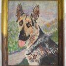 Vintage Original Painting German Shepherd Dog Messer Cincinnati Ohio 1971