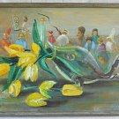 Vintage Painting Golda Andrews Allegorical Artists at Work Inside Tulips Texas