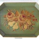 "Vintage Painted Tole Tray Flowers Fruit Green Gold Steel Regency Cherries 16x22"""