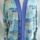 Vintage 80s Saks Italian Trophy Jacket Contrast Knit Chunky Cardigan Sweater