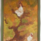 Vintage Oil Painting Tomboy Girl Tree Victorian Fantasy Impressionist  B Fields
