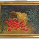 Vintage Painting Spilling Basket Strawberry Field  Gilt Frame Original Jean