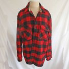 Vintage Hunting Sears Shirt Jacket Wool Chore Work Red Black Buffalo Plaid 16 L
