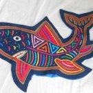 Mola Shark Pillow Cover Folk Art Handmade Vintage Needlework Kuna Blue Marine