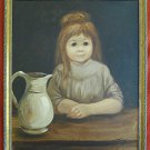 Antique Vintage Painting Big Eye Girl Child Victorian Dress Giant Pitcher Troys