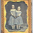 Daguerreotype 2 Ballerinas Dancers Embracing Full Length Tinted Blue Girls 1/4