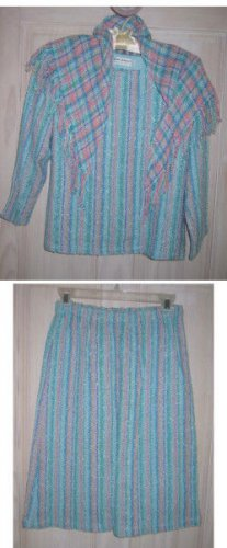 Vintage 60s Judith Bushyager Texture Blocking Handwoven Skirt Suit Tunic NOS