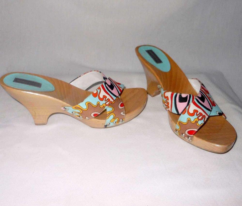 Emilio Pucci Scarf Print Wood Wedge Mules Sandals Clogs Platform Vintage 39