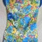 Print Jacket Vertigo Floral Flower Pirate Sleeveless Vest Long Jacket NOS Grunge